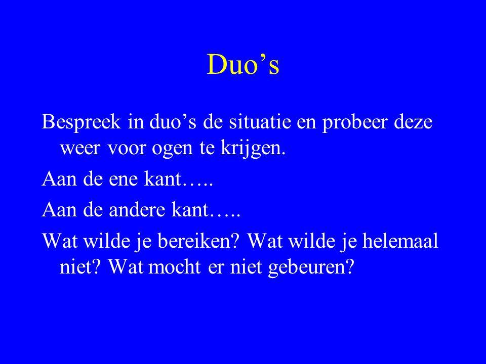 Duo's Bespreek in duo's de situatie en probeer deze weer voor ogen te krijgen. Aan de ene kant….. Aan de andere kant…..