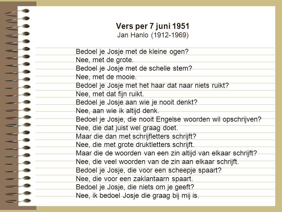 Vers per 7 juni 1951 Jan Hanlo (1912-1969)