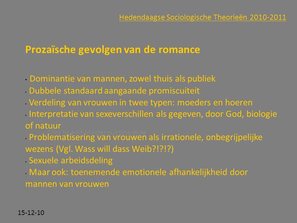 Prozaïsche gevolgen van de romance