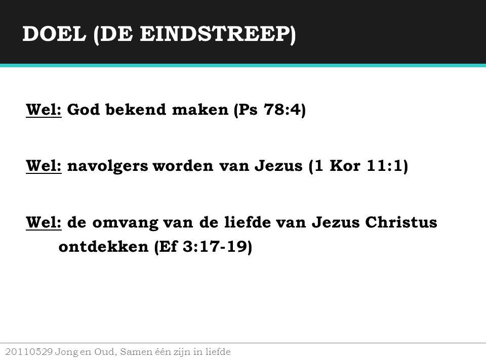 DOEL (DE EINDSTREEP) Wel: God bekend maken (Ps 78:4)