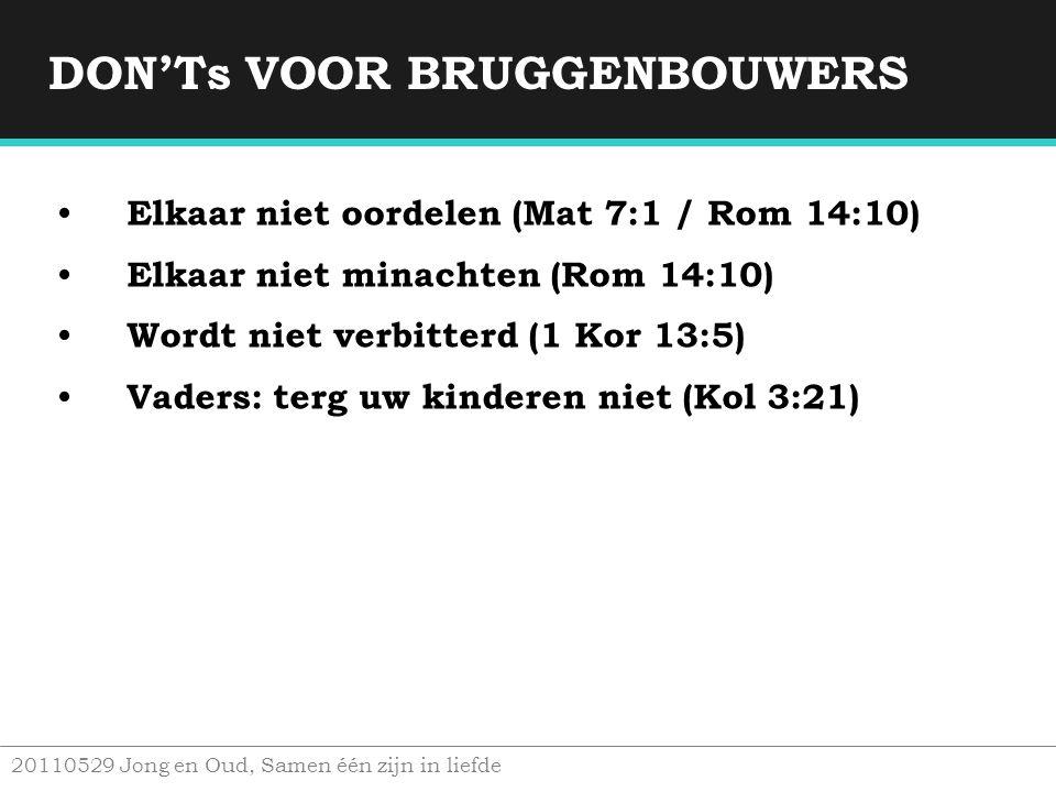 DON'Ts VOOR BRUGGENBOUWERS