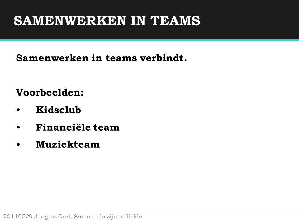 SAMENWERKEN IN TEAMS Samenwerken in teams verbindt. Voorbeelden:
