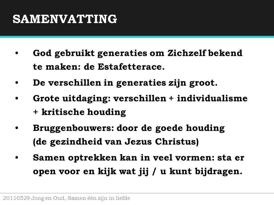 SAMENVATTING God gebruikt generaties om Zichzelf bekend te maken: de Estafetterace. De verschillen in generaties zijn groot.