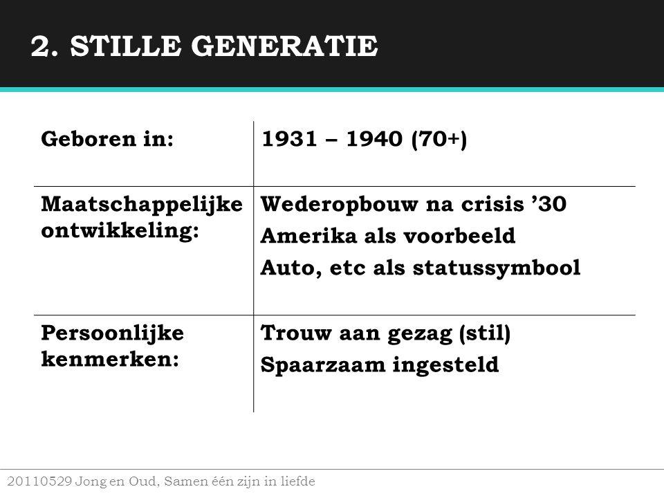 2. STILLE GENERATIE Geboren in: 1931 – 1940 (70+)
