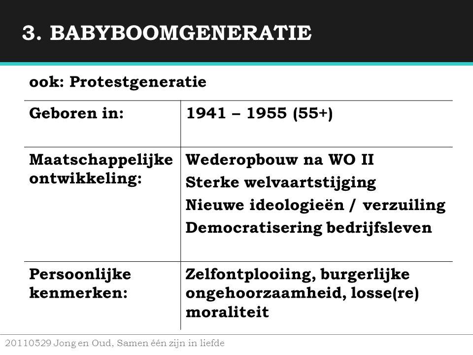 3. BABYBOOMGENERATIE ook: Protestgeneratie Geboren in: