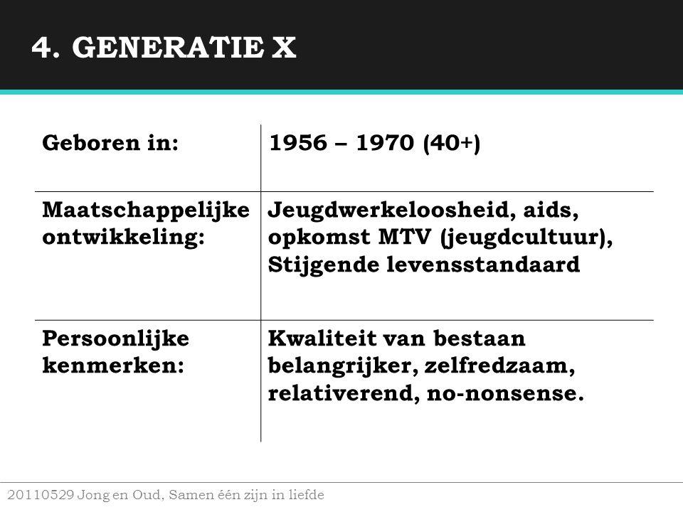 4. GENERATIE X Geboren in: 1956 – 1970 (40+)