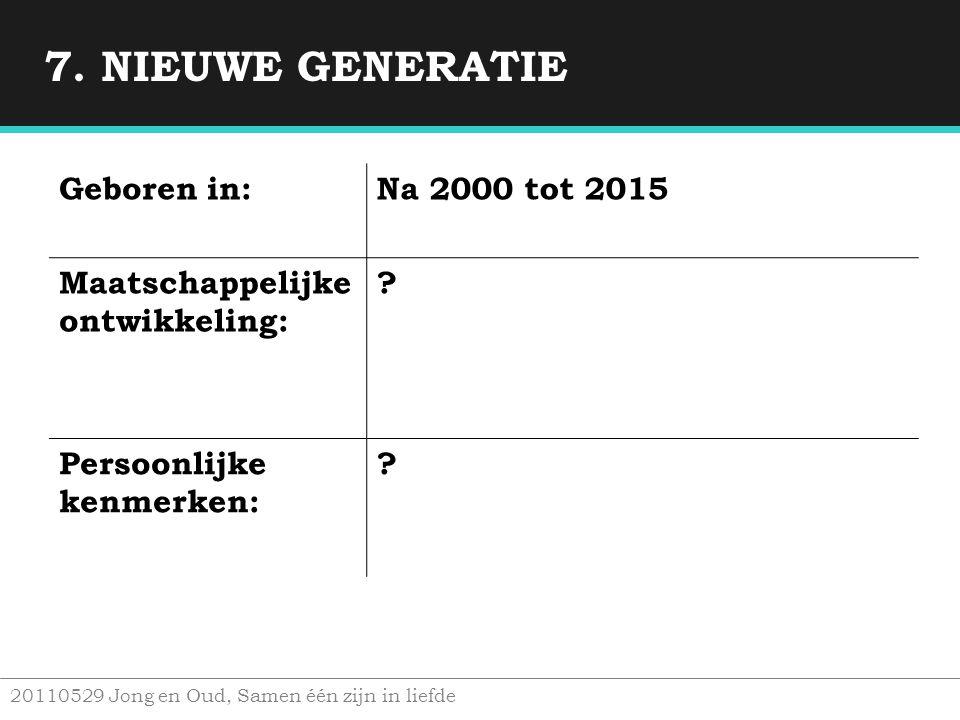 7. NIEUWE GENERATIE Geboren in: Na 2000 tot 2015