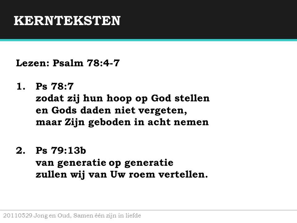 KERNTEKSTEN Lezen: Psalm 78:4-7