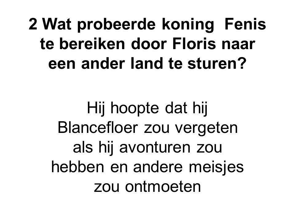 2 Wat probeerde koning Fenis te bereiken door Floris naar een ander land te sturen