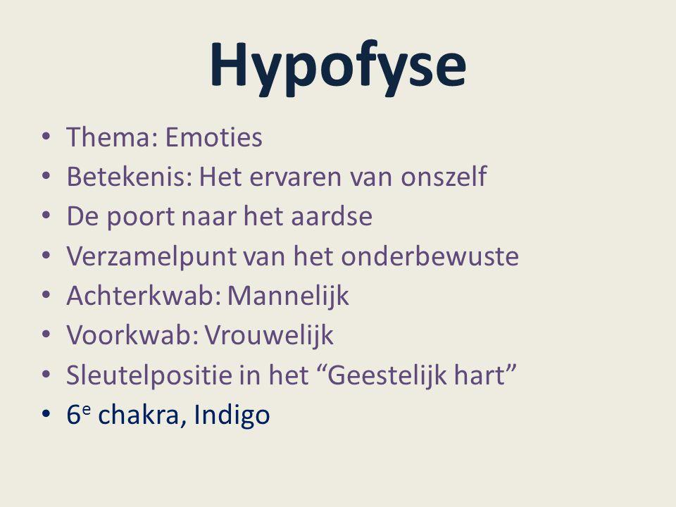 Hypofyse Thema: Emoties Betekenis: Het ervaren van onszelf