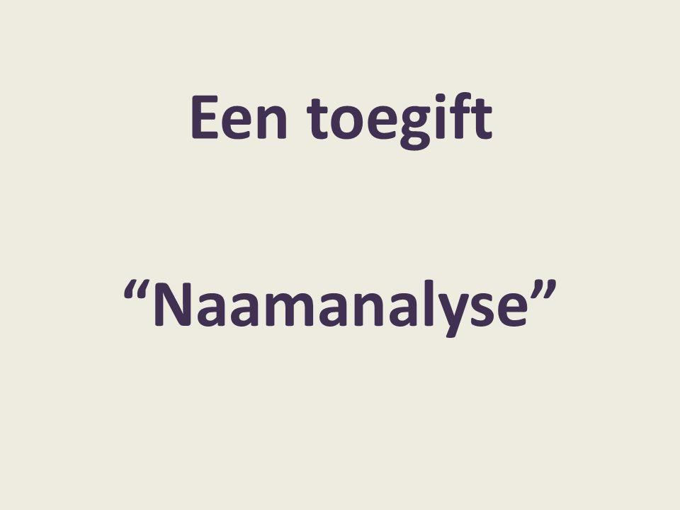 Een toegift Naamanalyse