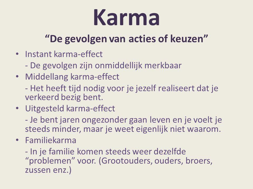 Karma De gevolgen van acties of keuzen