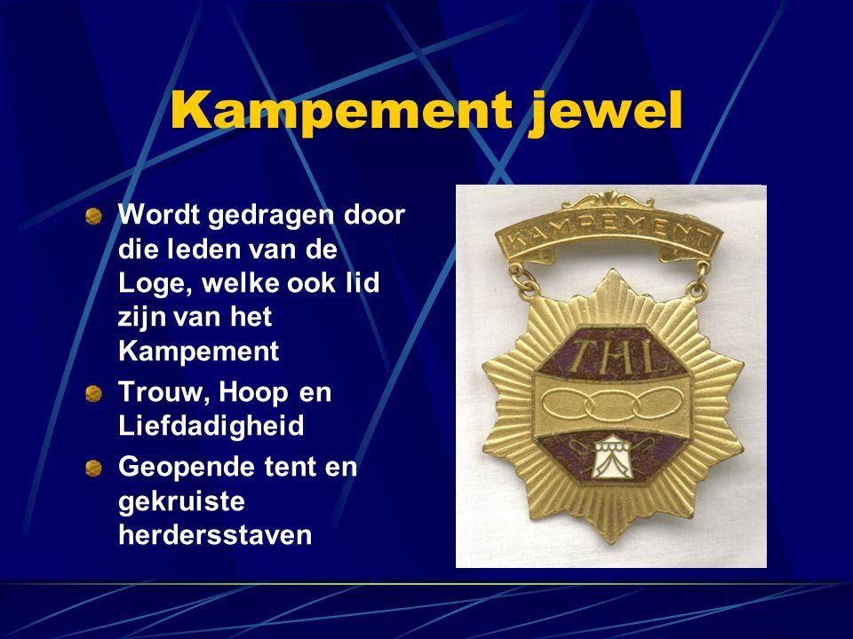 Kampement jewel Wordt gedragen door die leden van de Loge, welke ook lid zijn van het Kampement. Trouw, Hoop en Liefdadigheid.