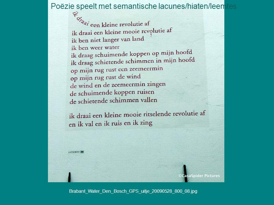 Poëzie speelt met semantische lacunes/hiaten/leemtes