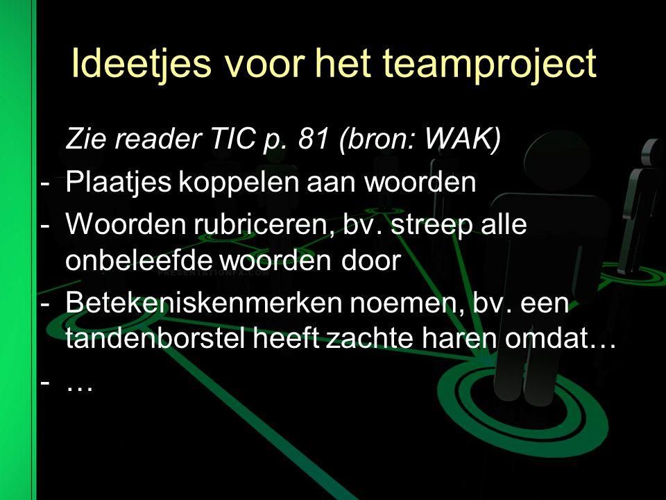 Ideetjes voor het teamproject