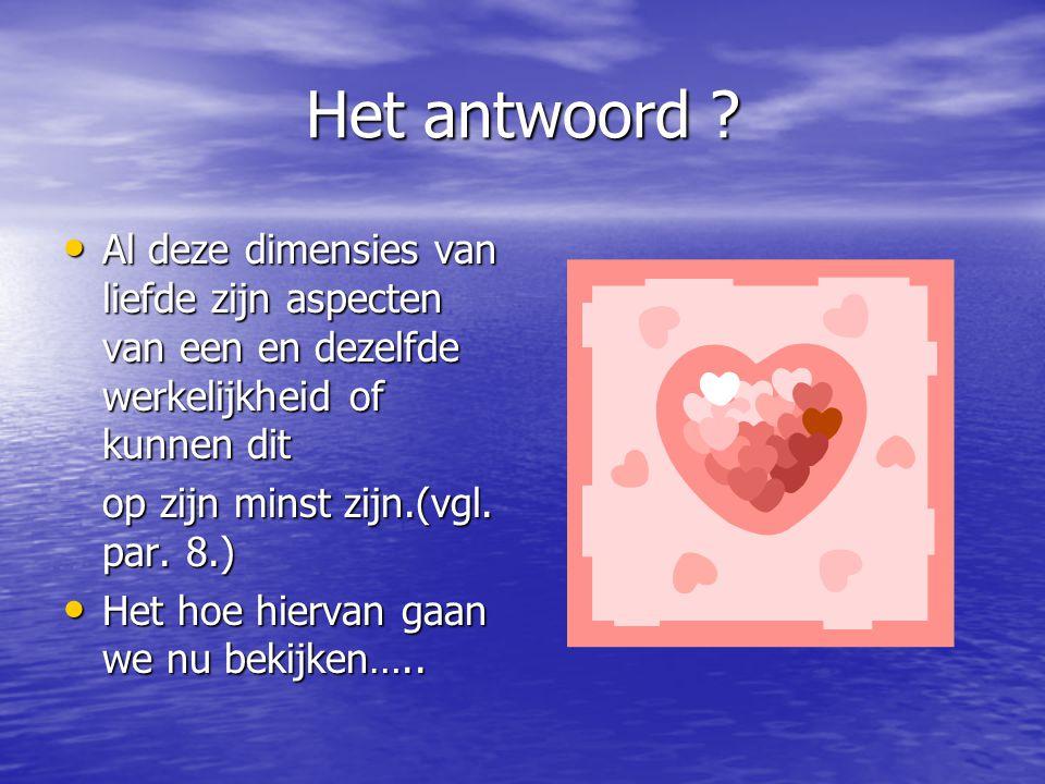 Het antwoord Al deze dimensies van liefde zijn aspecten van een en dezelfde werkelijkheid of kunnen dit.