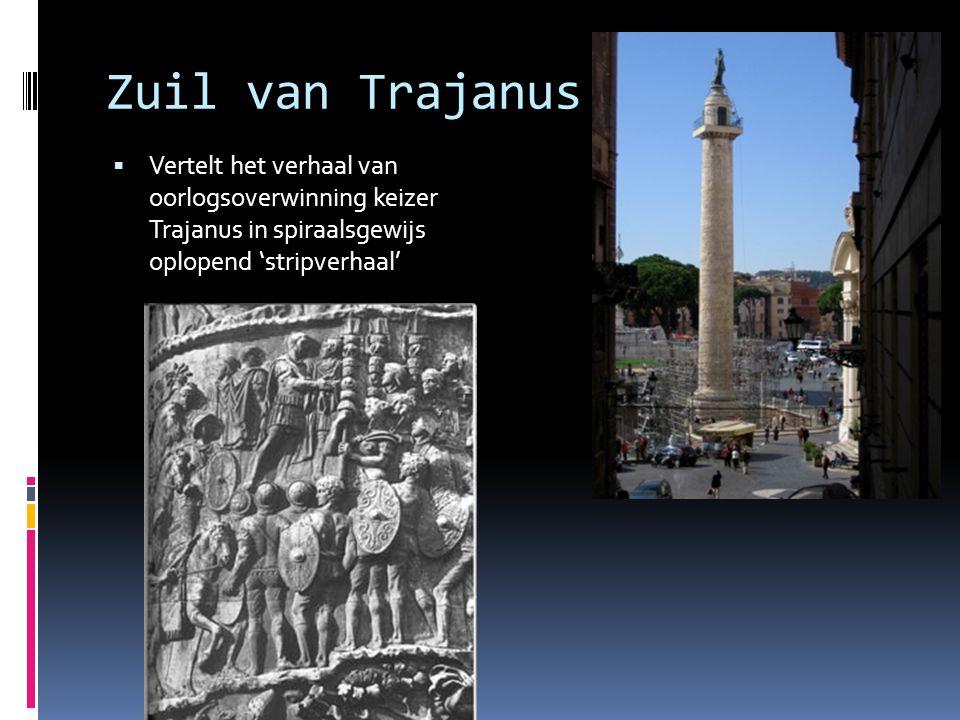 Zuil van Trajanus Vertelt het verhaal van oorlogsoverwinning keizer Trajanus in spiraalsgewijs oplopend 'stripverhaal'