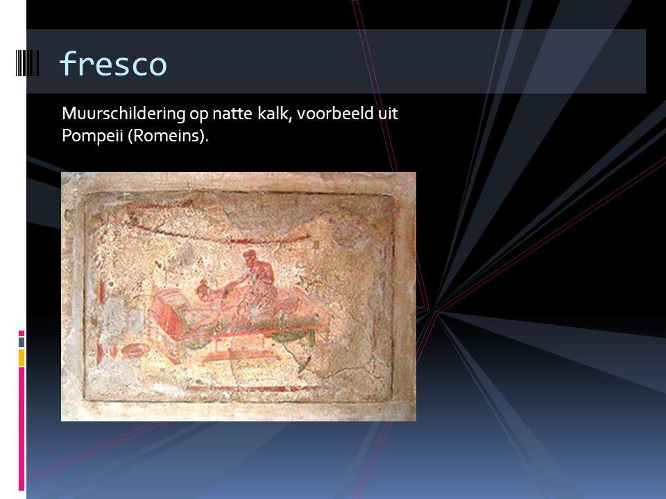 fresco Muurschildering op natte kalk, voorbeeld uit Pompeii (Romeins).