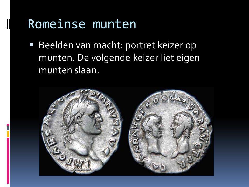 Romeinse munten Beelden van macht: portret keizer op munten.