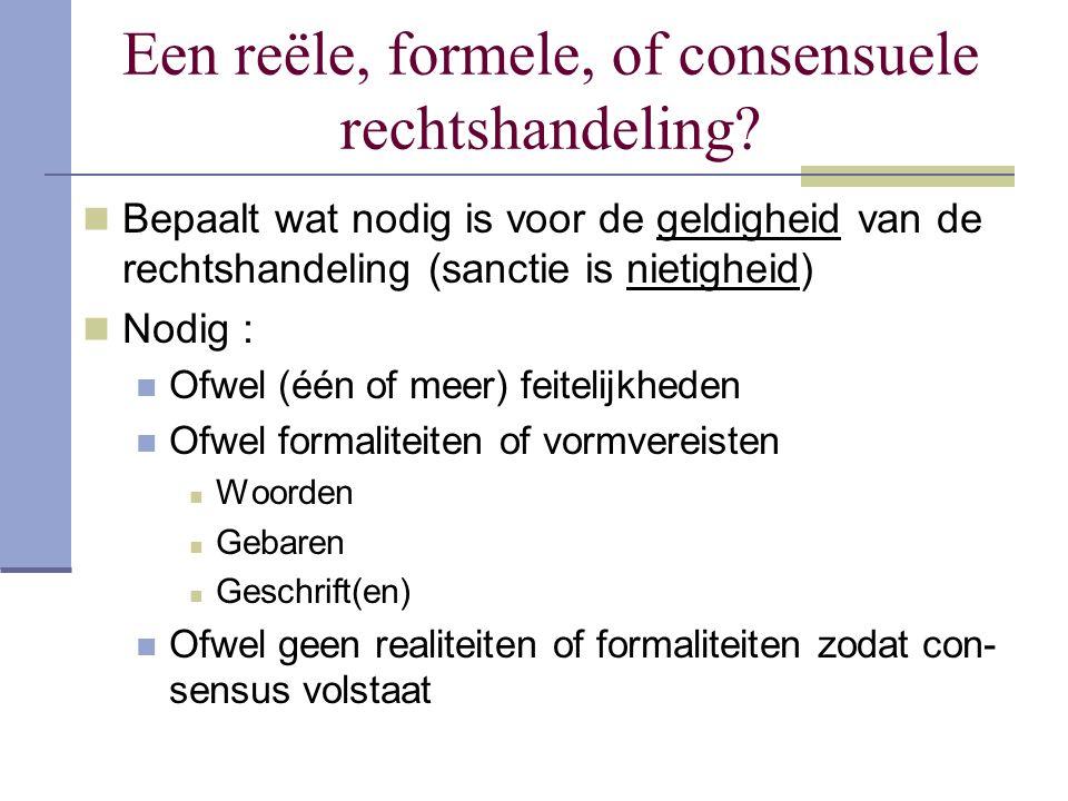 Een reële, formele, of consensuele rechtshandeling