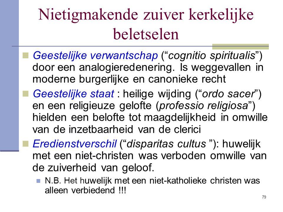 Nietigmakende zuiver kerkelijke beletselen