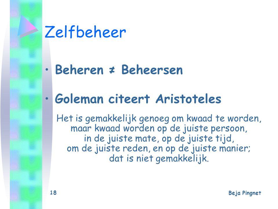 Zelfbeheer Beheren ≠ Beheersen Goleman citeert Aristoteles