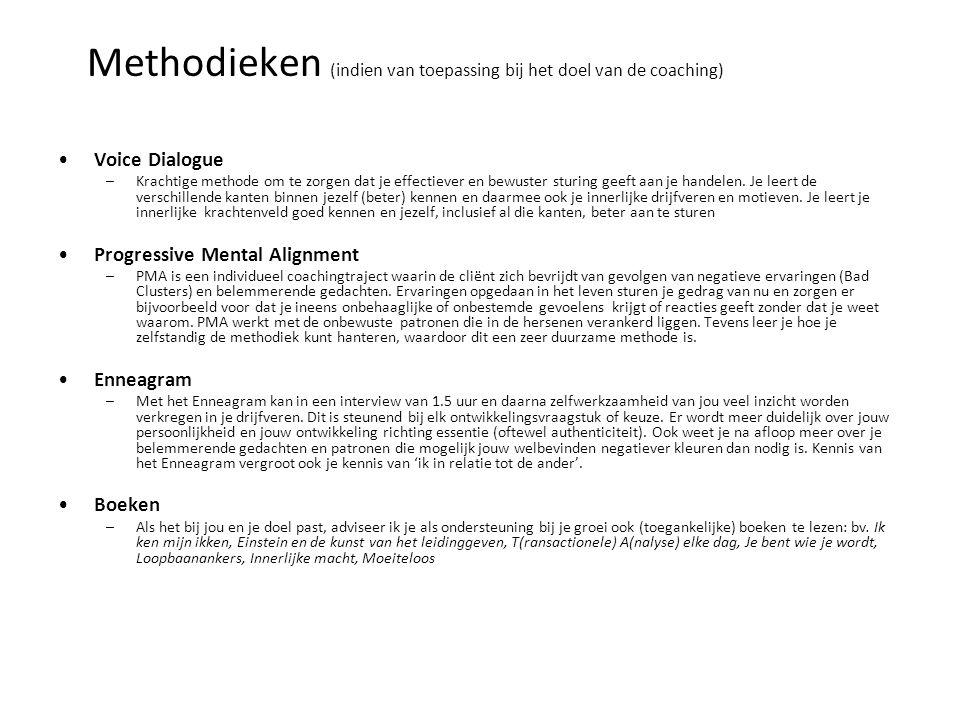 Methodieken (indien van toepassing bij het doel van de coaching)