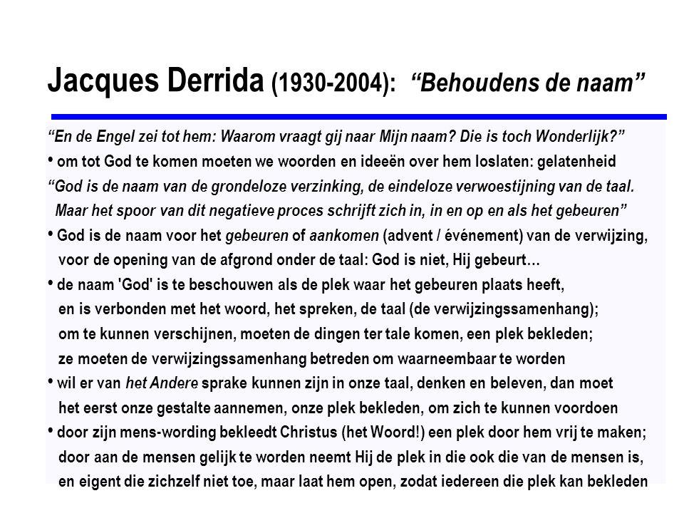 Jacques Derrida (1930-2004): Behoudens de naam