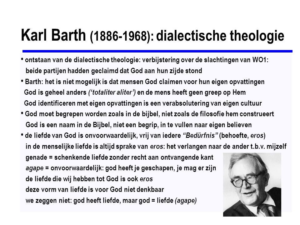 Karl Barth (1886-1968): dialectische theologie