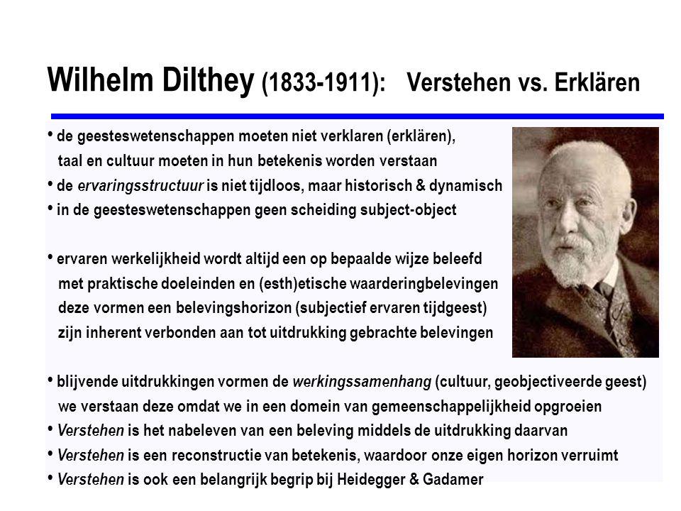 Wilhelm Dilthey (1833-1911): Verstehen vs. Erklären