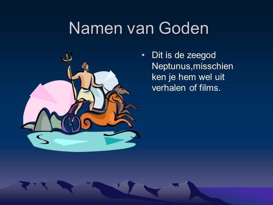 Namen van Goden Dit is de zeegod Neptunus,misschien ken je hem wel uit verhalen of films.