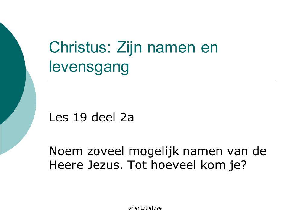 Christus: Zijn namen en levensgang