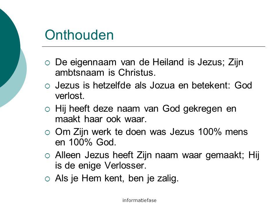 Onthouden De eigennaam van de Heiland is Jezus; Zijn ambtsnaam is Christus. Jezus is hetzelfde als Jozua en betekent: God verlost.