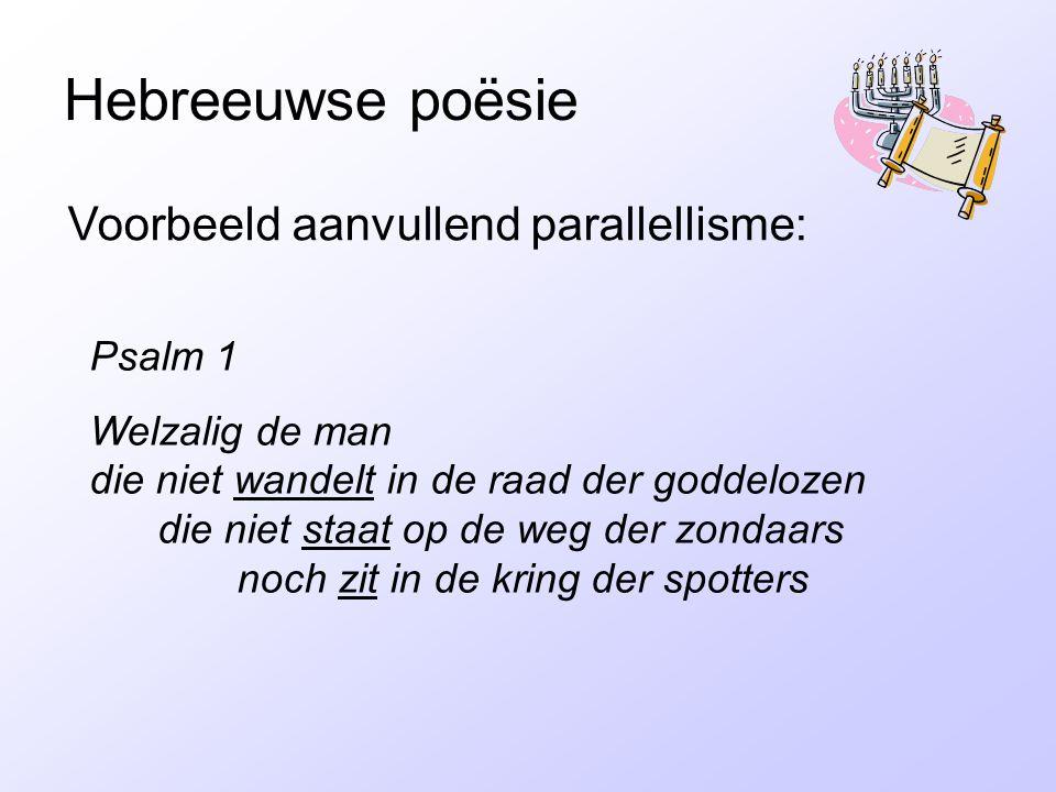 Hebreeuwse poësie Voorbeeld aanvullend parallellisme: Psalm 1