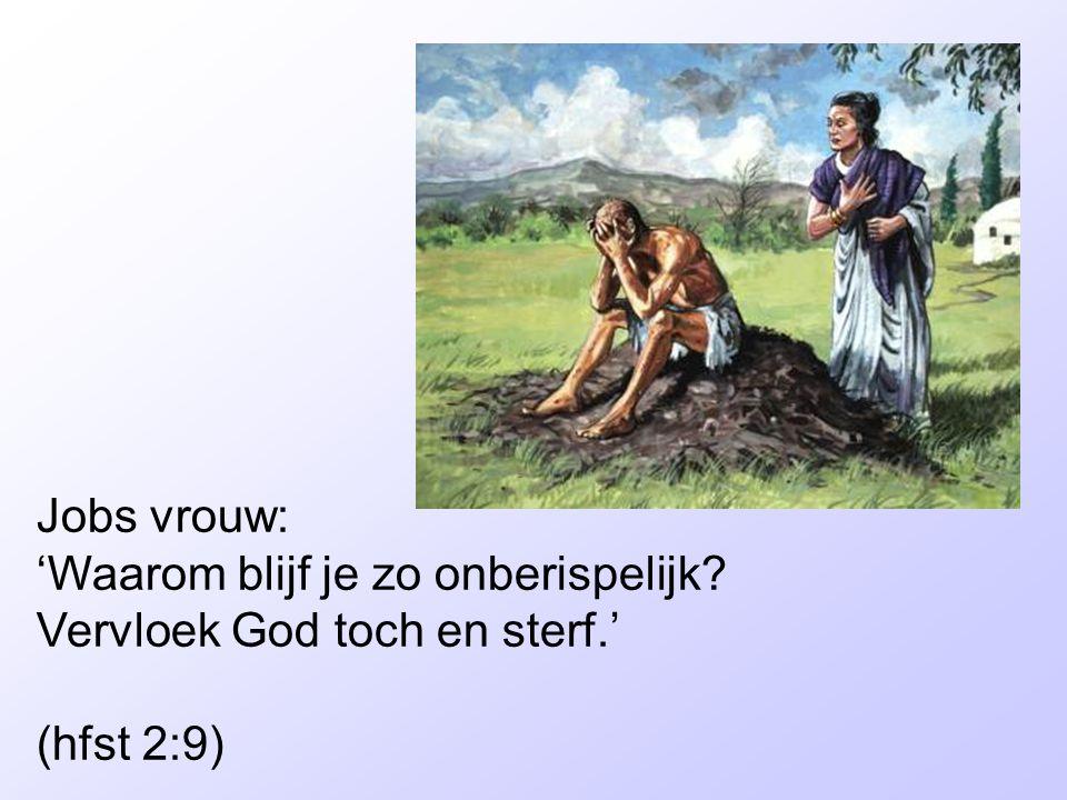 Jobs vrouw: 'Waarom blijf je zo onberispelijk Vervloek God toch en sterf.' (hfst 2:9)