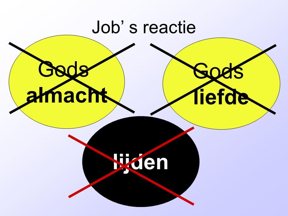 Job' s reactie Gods almacht Gods liefde lijden
