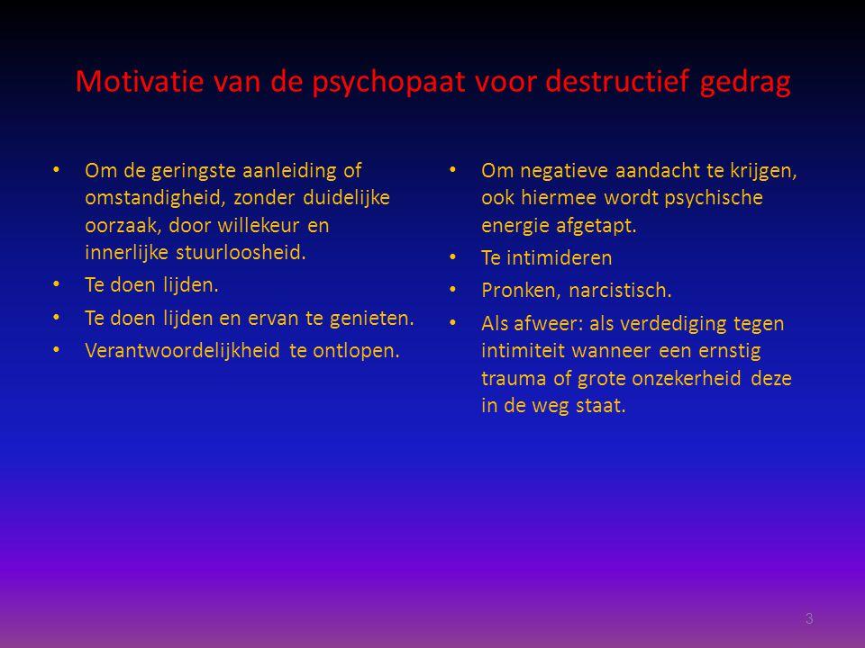 Motivatie van de psychopaat voor destructief gedrag