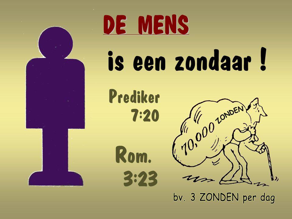 is een zondaar ! DE MENS Rom. 3:23 ZONDEN bv. 3 ZONDEN per dag