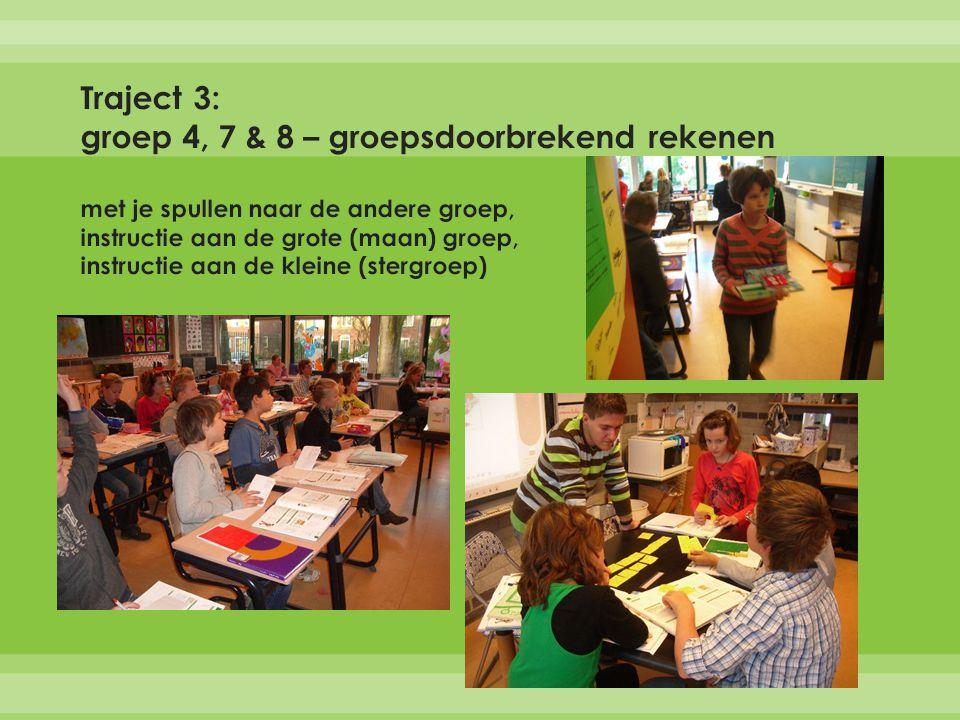 Traject 3: groep 4, 7 & 8 – groepsdoorbrekend rekenen met je spullen naar de andere groep, instructie aan de grote (maan) groep, instructie aan de kleine (stergroep)