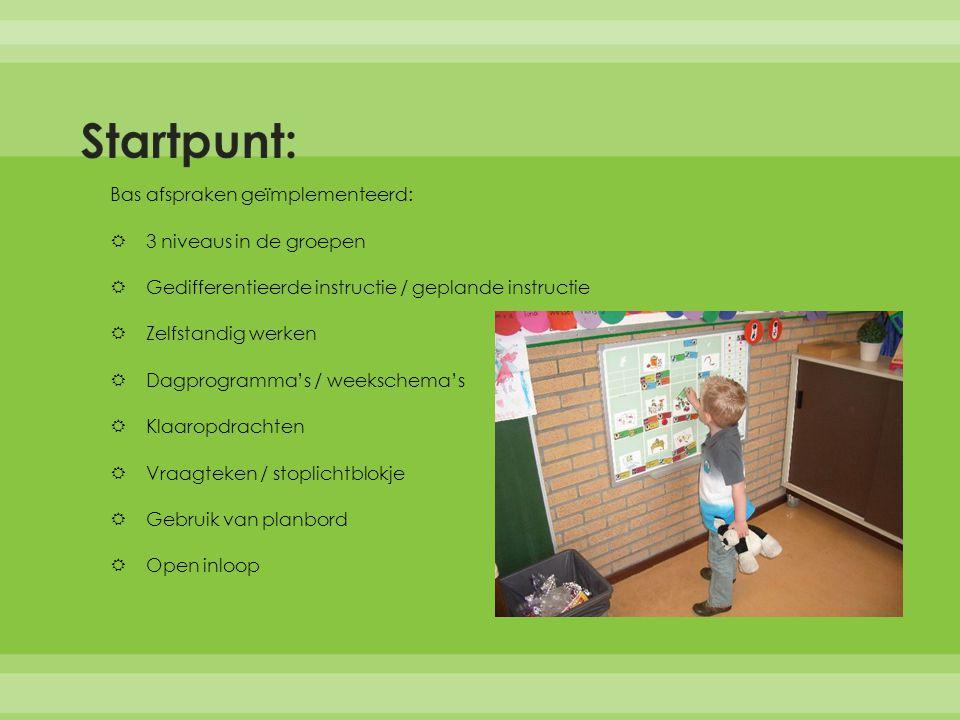 Startpunt: Bas afspraken geïmplementeerd: 3 niveaus in de groepen