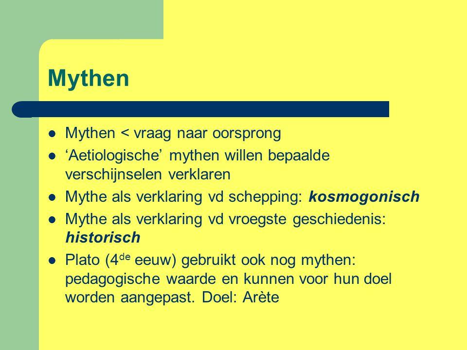 Mythen Mythen < vraag naar oorsprong
