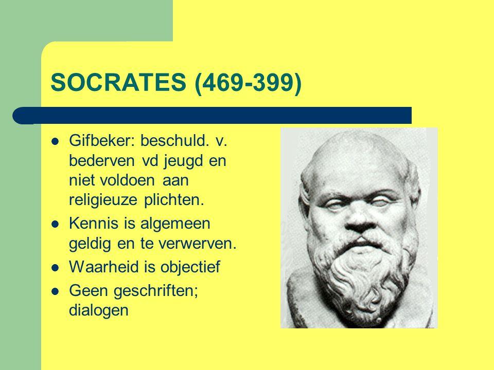 SOCRATES (469-399) Gifbeker: beschuld. v. bederven vd jeugd en niet voldoen aan religieuze plichten.