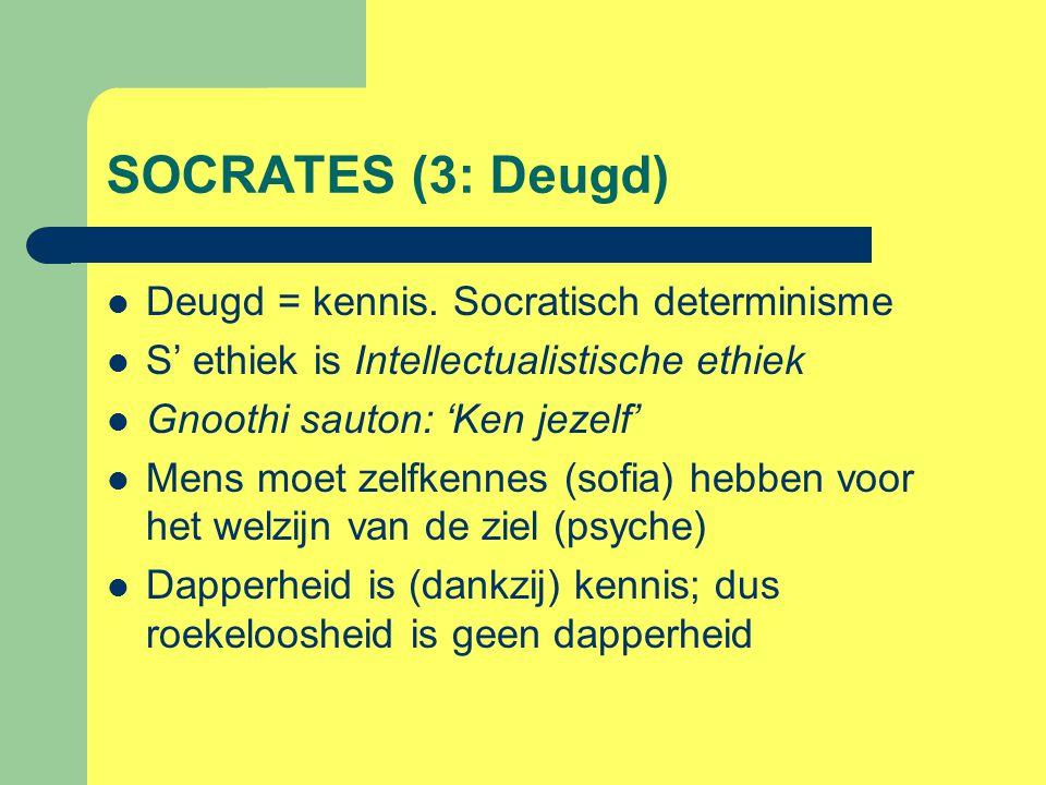 SOCRATES (3: Deugd) Deugd = kennis. Socratisch determinisme