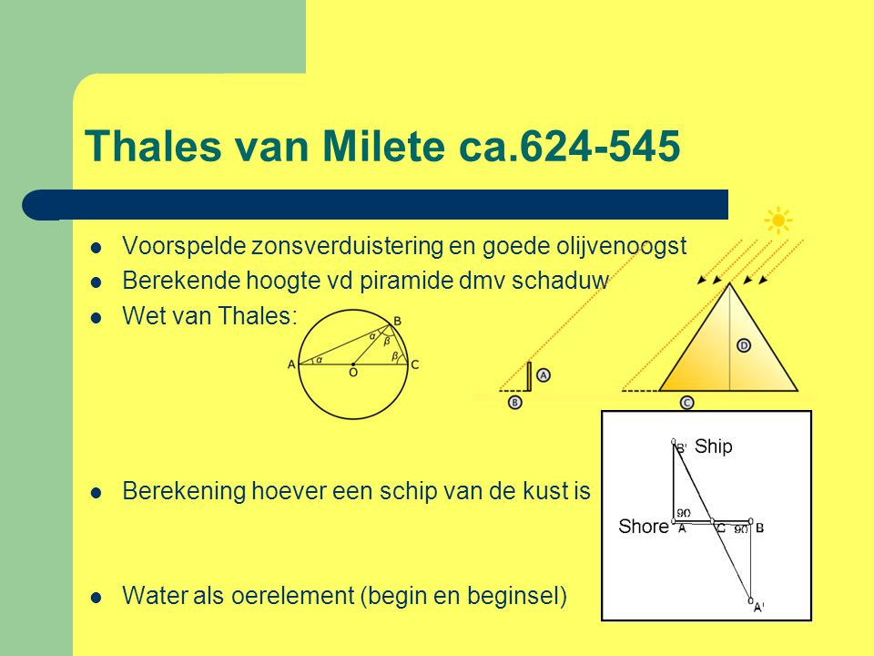 Thales van Milete ca.624-545 Voorspelde zonsverduistering en goede olijvenoogst. Berekende hoogte vd piramide dmv schaduw.