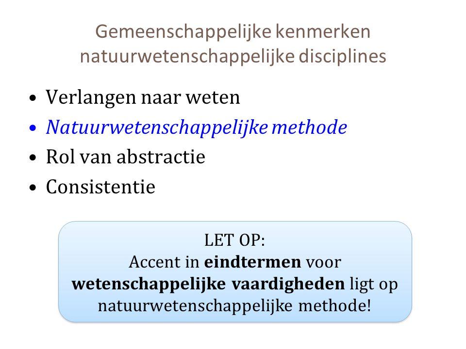 Gemeenschappelijke kenmerken natuurwetenschappelijke disciplines