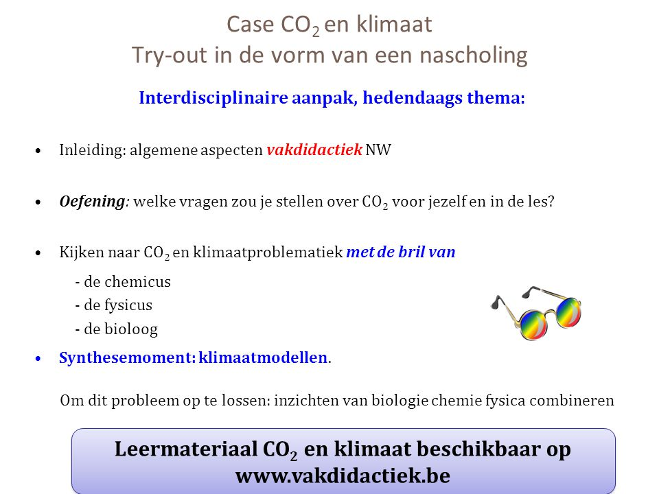 Case CO2 en klimaat Try-out in de vorm van een nascholing