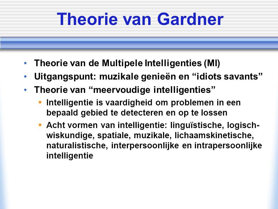 Theorie van Gardner Theorie van de Multipele Intelligenties (MI)