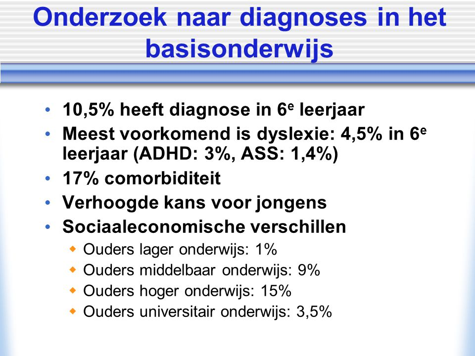 Onderzoek naar diagnoses in het basisonderwijs