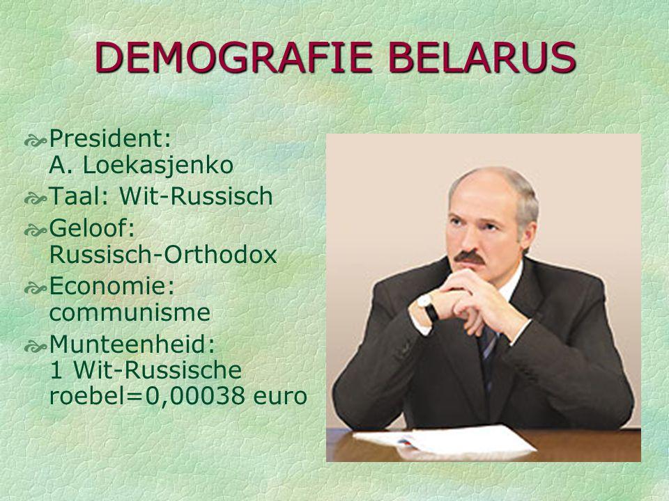 DEMOGRAFIE BELARUS President: A. Loekasjenko Taal: Wit-Russisch