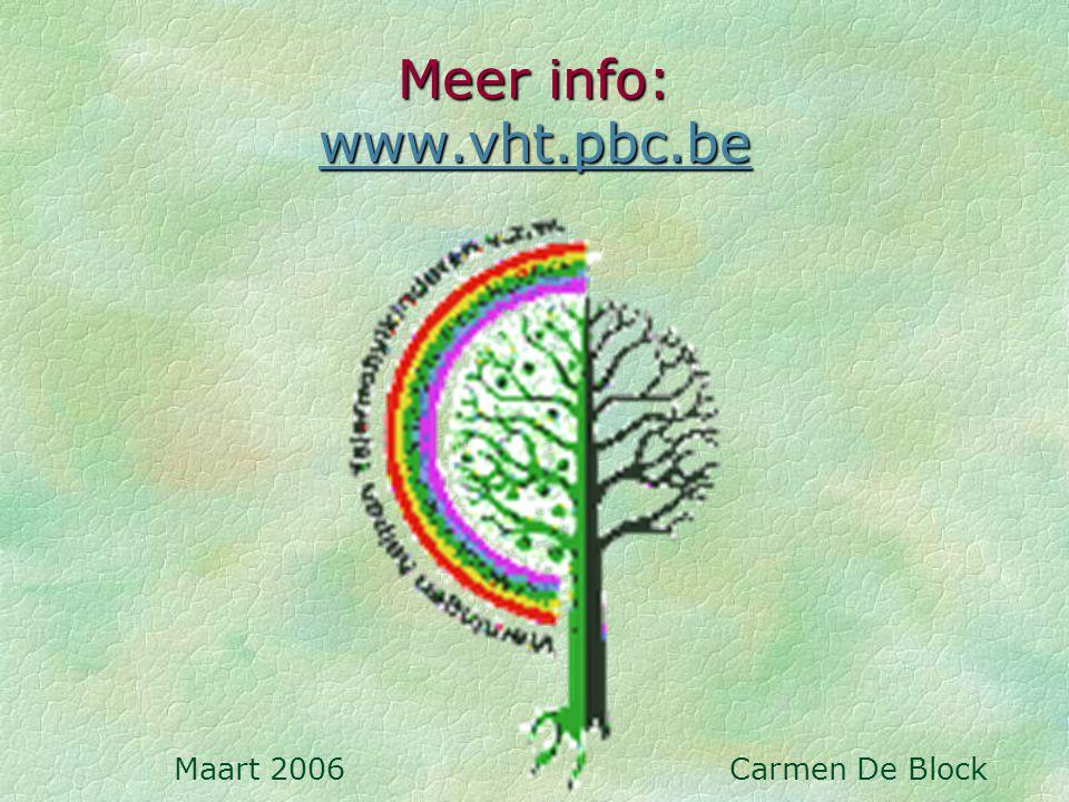 Meer info: www.vht.pbc.be